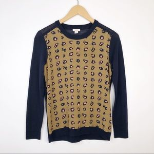 Fossil Lightweight Sweater with Silk Leopard Panel